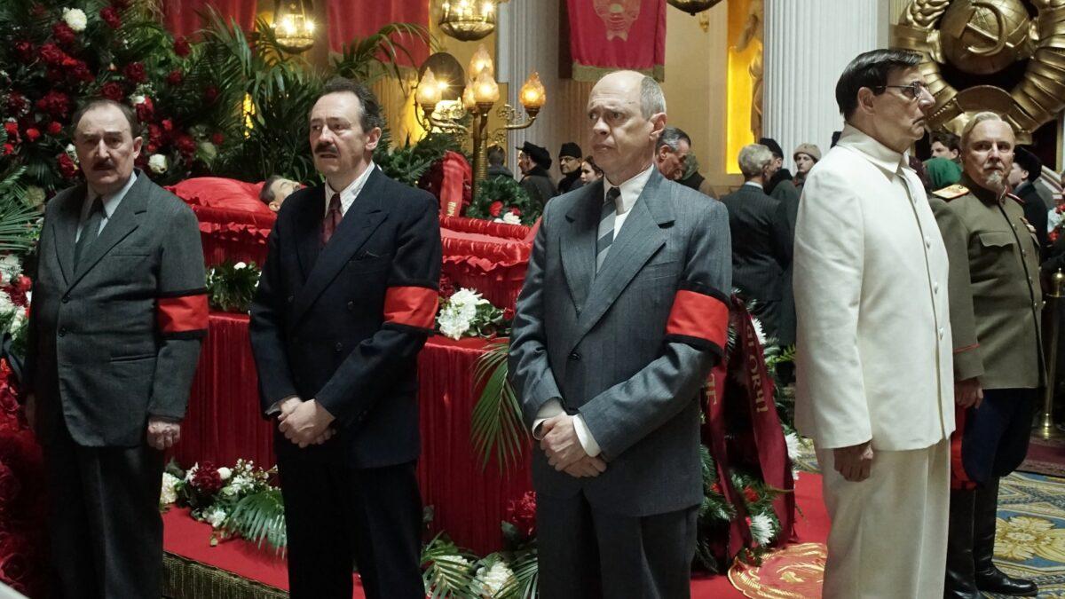 Five men surround casket in The Death of Stalin
