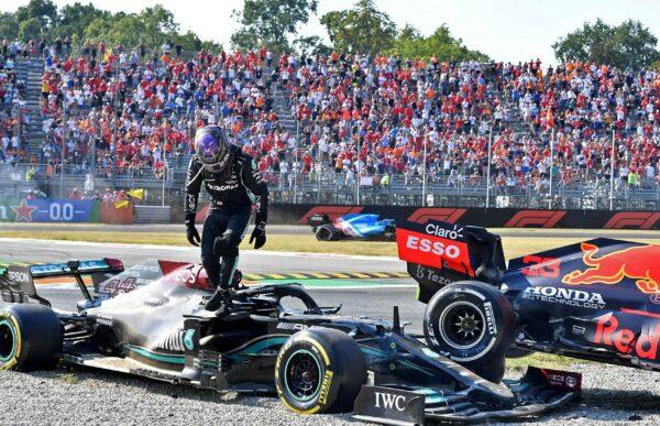 Hamilton after crashing out